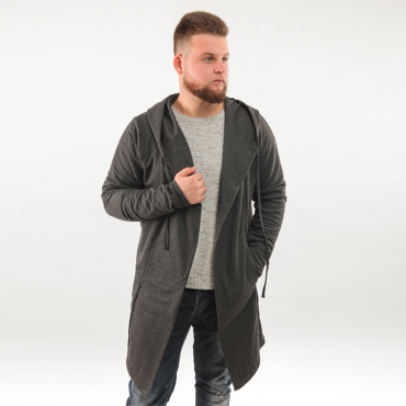 GILET LONG GRIS ANTHRACITE